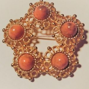 Vintage Sarah Coventry Valencia Coral Brooch Pin 1
